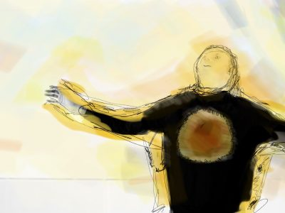 Photo montage with painting of man with arms outstretched and chest lifted with drawn face looking upwards