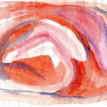 watercolour painting of a spiral of red swirls with purple and blue outlines