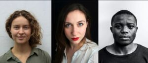 headshot images of the three selected artists. left to right: white Caucasian female blonde hair, green shirt top, white Italian female, brown hair, red lipstick, white shirt top, black male, very short hair, dark crew neck t-shirt